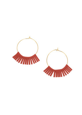 Joy Susan Gold Hoop W Red Fringe Earrings