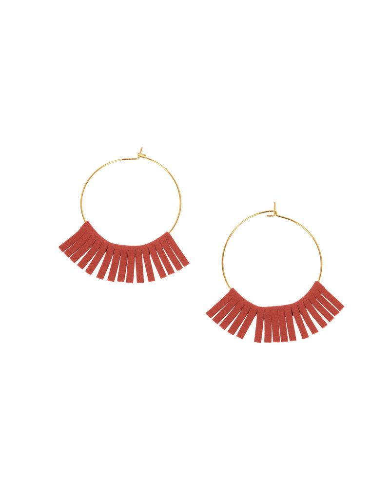 Joy Susan Gold Hoop W Red Fringe Earrings