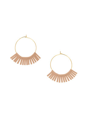 Joy Susan Gold Hoop W Pink Fringe Earrings