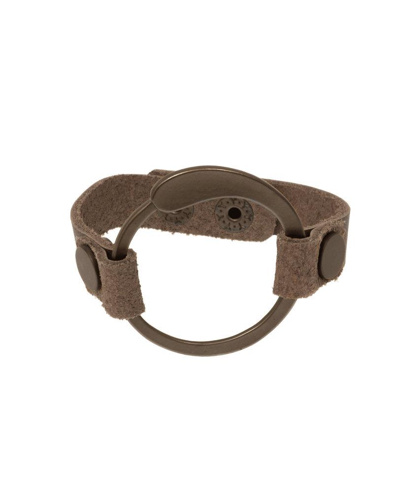 Joy Susan Khaki Leather Tear Drop Circle Bracelet