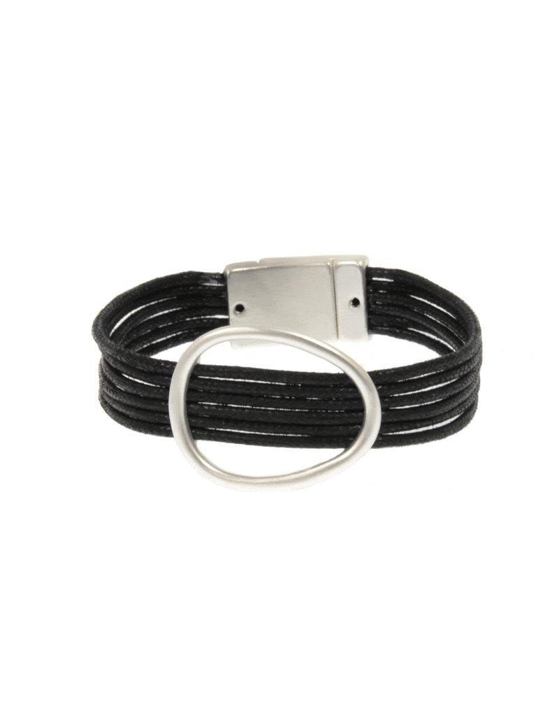 Joy Susan Black Cord Silver Oval Bracelet