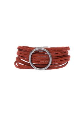 Joy Susan Scarlet Multi Suede Gun Metal Ring Bracelet