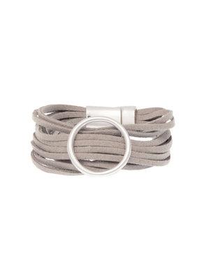 Joy Susan Grey Multi Suede Silver Ring Bracelet