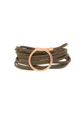 Joy Susan Olive Multi Suede Gold Ring Bracelet