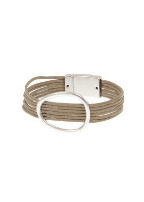 Joy Susan Taupe Cord Silver Oval Bracelet