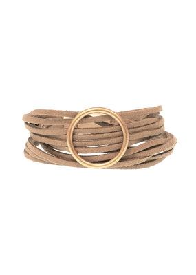 Joy Susan Camel Multi Suede Gold Ring Bracelet