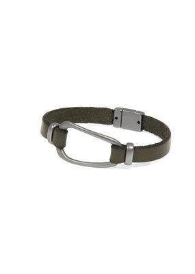 Joy Susan Olive Leather Gunmetal Hoop Bracelet