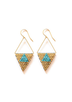 Didi Jewerly Project Brass Rhombus Turquoise Howalite Bead Earring