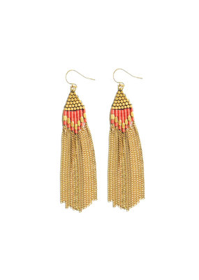 Didi Jewerly Project Brass Coral Howalite Diamond Drop Earring