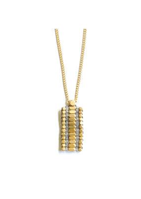 Didi Jewerly Project Brass Labradorite Rectangle Bead Necklace