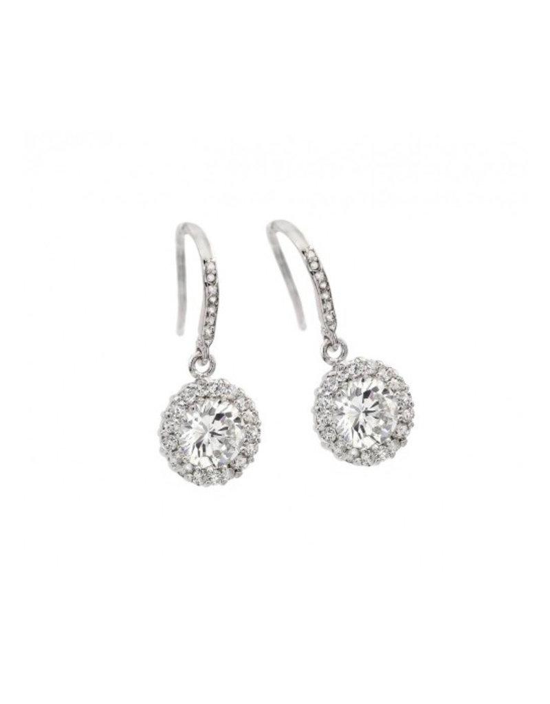 Sterling Silver Round CZ Hook Earrings