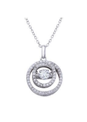 Italian Sterling Circle CZ Dancing Diamond Necklace