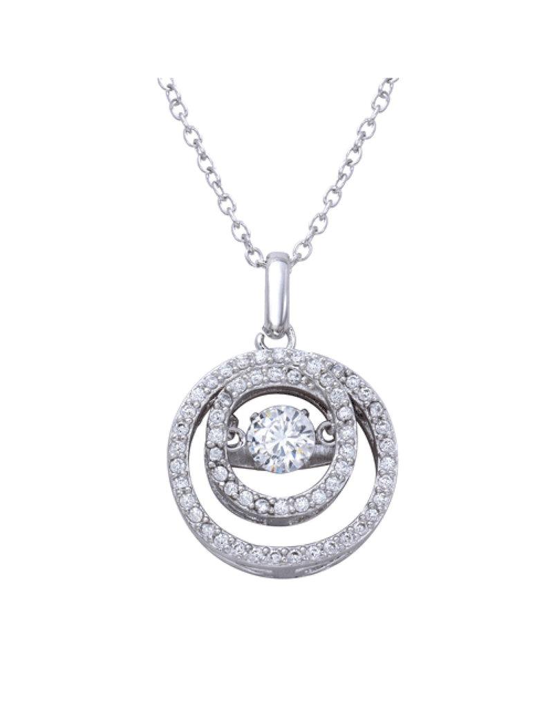 Sterling Circle Dancing Swarovski Necklace