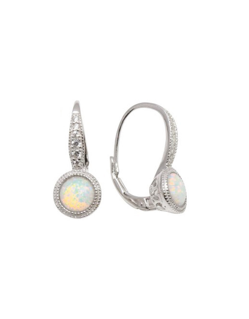 Sterling White Opal French Wire Earrings