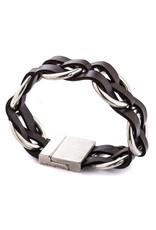 Trades Black Leather Interlaced Magnetic Bracelet