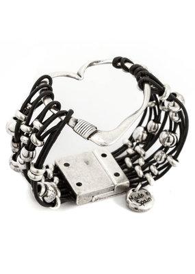 Trades Heart Black Leather Bracelet