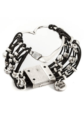 Trades Heart Black Leather Magnetic Bracelet