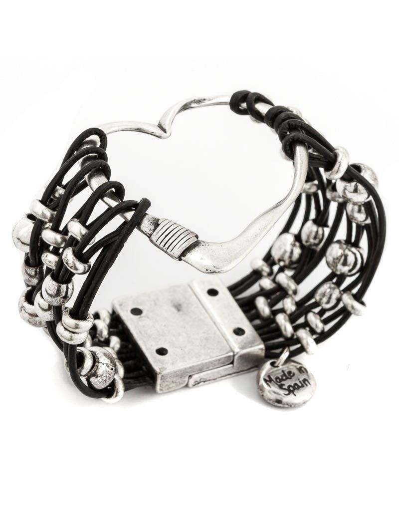 Trades Heart Black Leather Magnetic Bracelet
