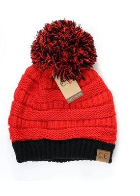 C.C. CC Red/Black Game Day Pom Hat