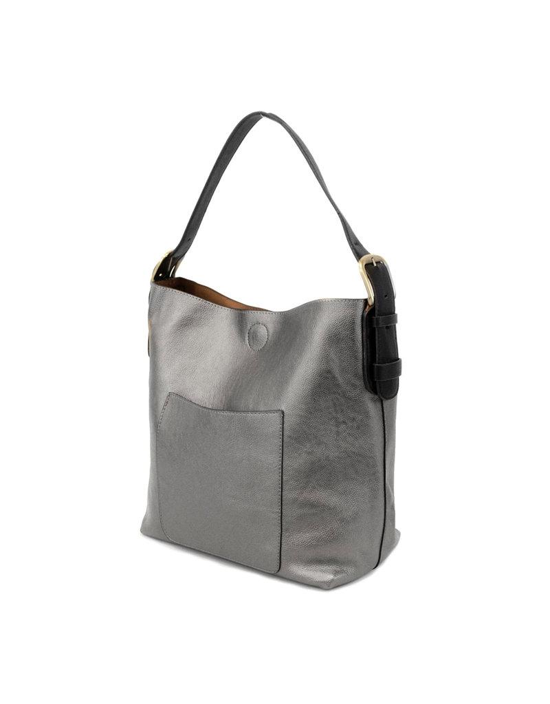 Joy Susan Pewter Hobo Black Handle Handbag
