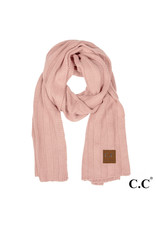 C.C. CC Indian Pink Wide Ribbed Knit Scarf