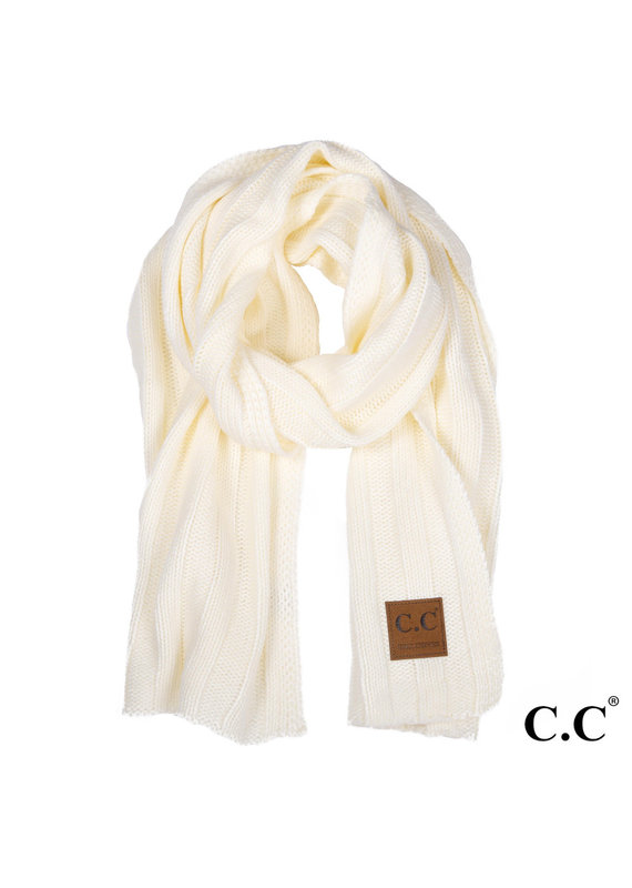 C.C. CC Ivory Wide Ribbed Knit Scarf