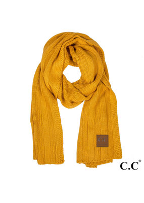 C.C. CC Mustard Wide Ribbed Knit Oblong Scarf