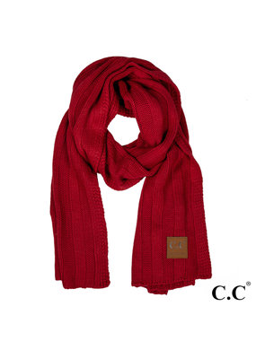 C.C. CC Burgundy Wide Ribbed Knit Oblong Scarf