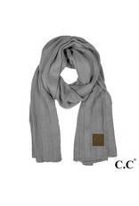C.C. CC Lt. Melange Grey Wide Ribbed Knit Scarf