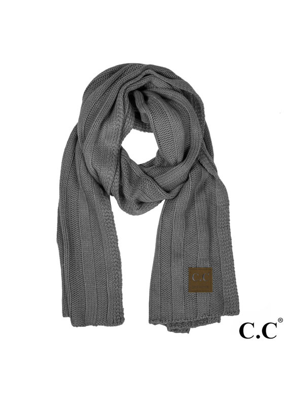 C.C. CC Drk. Melange Grey Wide Ribbed Knit Oblong Scarf
