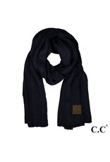 C.C. CC Navy Wide Ribbed Knit Oblong Scarf