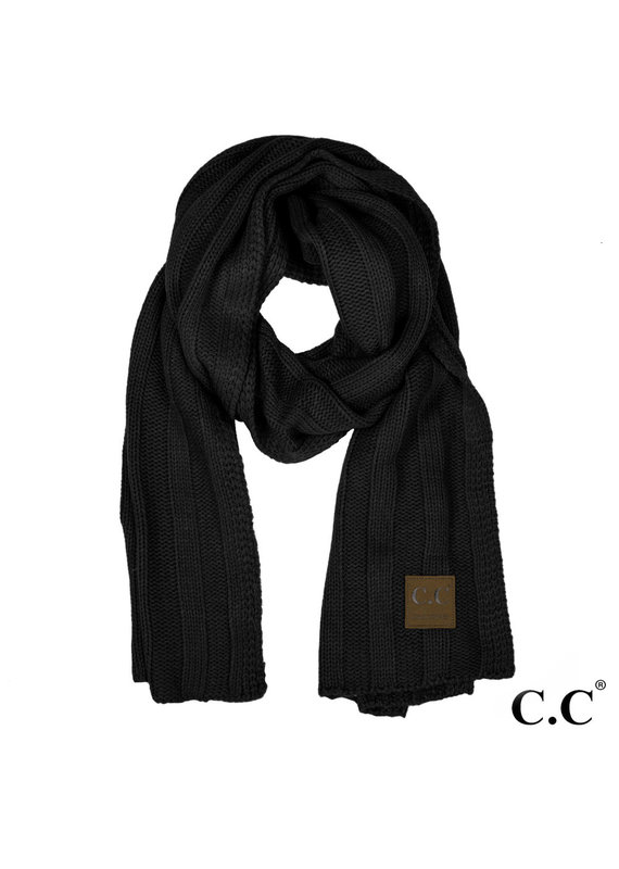 C.C. CC Black Wide Ribbed Knit Scarf