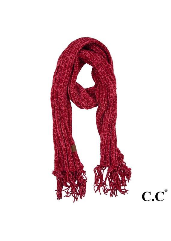 C.C. CC Burgundy Chenille Scarf With Fringe