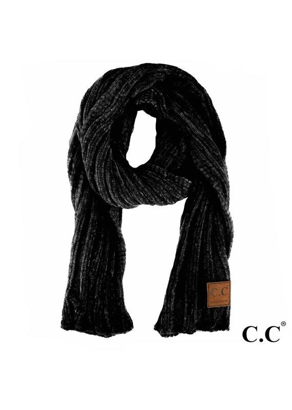 C.C. CC Black Ribbed Chenille Scarf