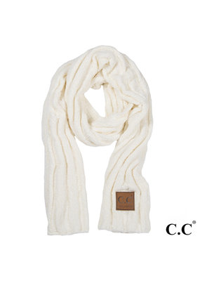 C.C. CC Ivory Ribbed Chenille Scarf