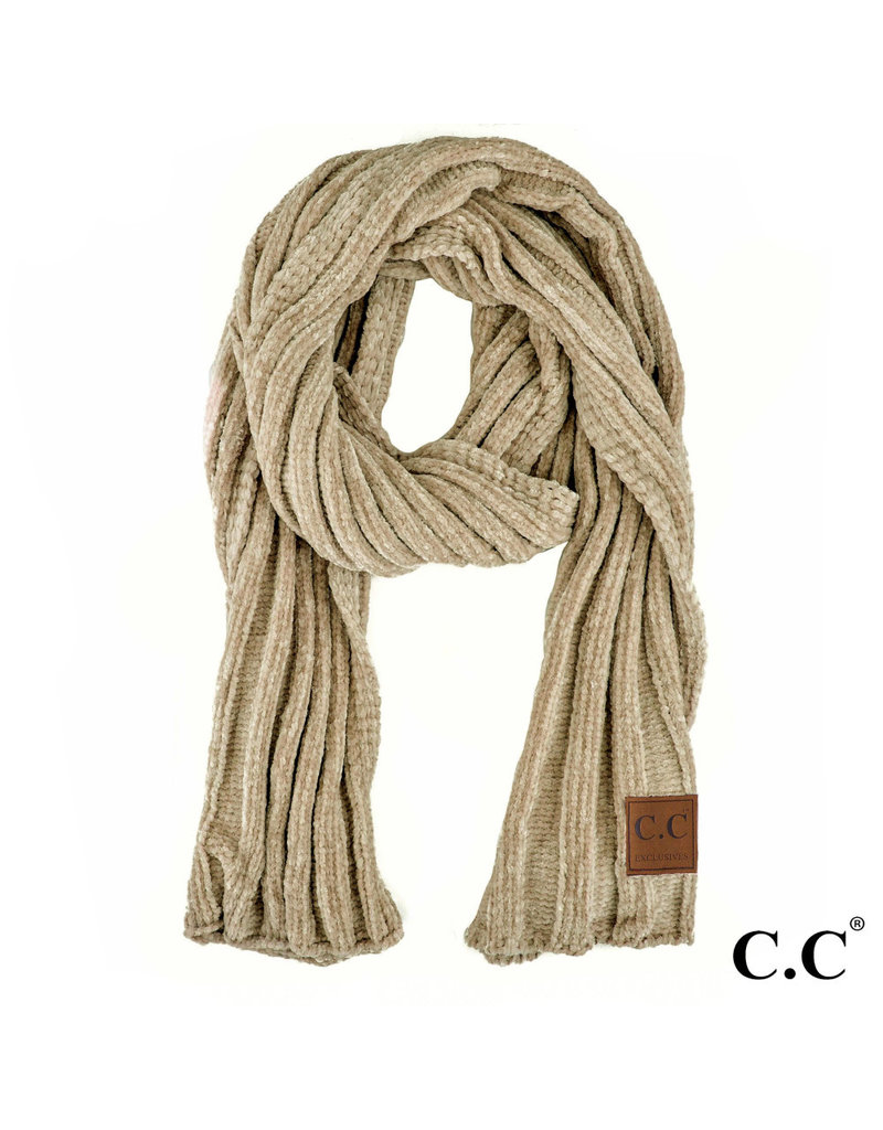 C.C. CC Taupe Ribbed Chenille Scarf
