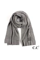 C.C. CC Lt. Melange Grey Solid Ribbed Knit Beanie Scarf