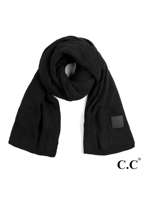 C.C. CC Black Solid Ribbed Knit Beanie Scarf