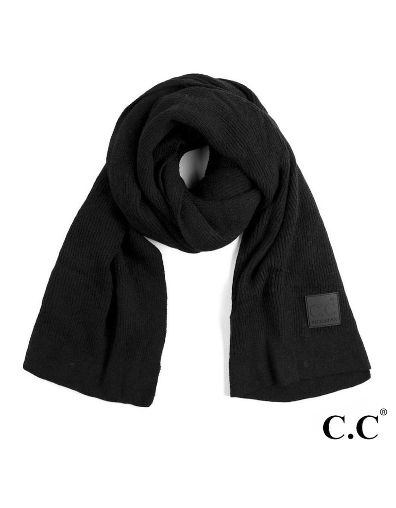 C.C. CC Black Solid Ribbed Knit Beanie Scarf
