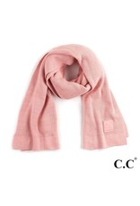 C.C. CC Blush Rose Solid Ribbed Knit Beanie Scarf