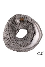 C.C. CC Natural Grey Chunky Sherpa Lined Infinity Scarf