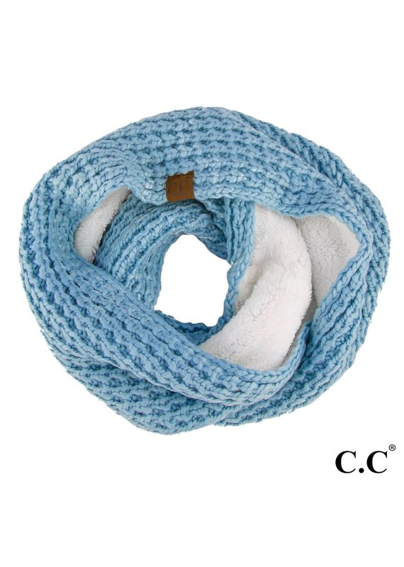 C.C. CC Denim Chunky Sherpa Lined Infinity Scarf