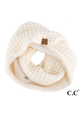 C.C. CC Ivory Chunky Sherpa Lined Infinity Scarf