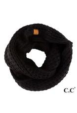 C.C. CC Black Chunky Sherpa Lined Infinity Scarf