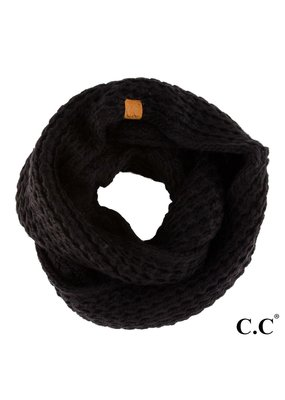 C.C. CC Black Chunky Sherpa Lined Infinity Scarf