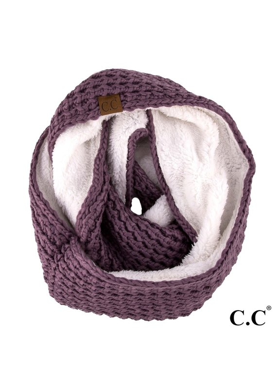 C.C. CC Violet Chunky Sherpa Lined Infinity Scarf