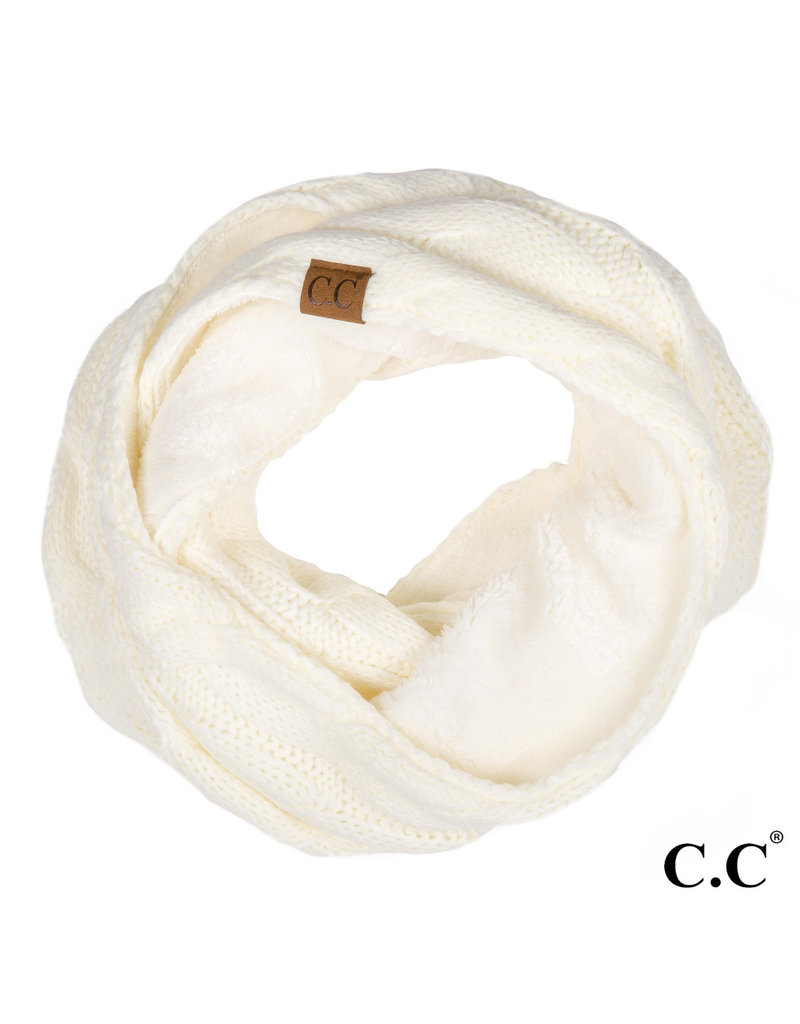 C.C. CC Ivory Sherpa Lined Infinity Scarf