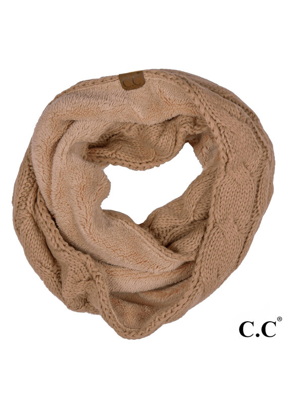 C.C. CC Taupe Sherpa Lined Infinity Scarf