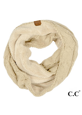 C.C. CC Beige Sherpa Lined Infinity Scarf