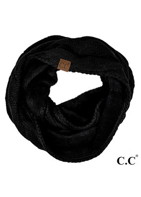 C.C. CC Black Sherpa Lined Infinity Scarf